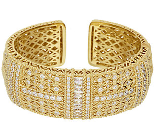 Product image of Judith Ripka Sterling & 14K Gold Clad Estate Pia Wide Hinged Cuff