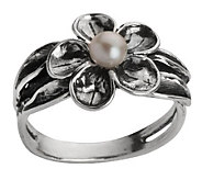 Or Paz Sterling Cultured Freshwater Pearl Flower Ring - J307166