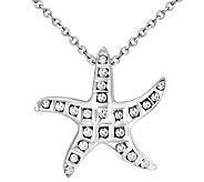 Diamond Fascination Sterling Starfish Pendant with Chain - J309966