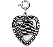 Sterling Flag Heart Charm - J311166
