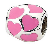 Prerogatives Sterling Pink Hearts Barrel Bead - J312766