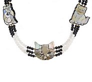 Lee Sands Triple Strand Curious Cat Inlay Necklace - J313866