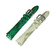 Judith Ripka Set of 2 Snakeskin Leather Watch Straps - J315666