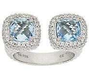 Judith Ripka Sterling 3.4 ct Blue Topaz Twin Ring - J317766
