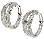 Judith Ripka Sterling & Diamonique Open Work Hoop Earrings - J319966