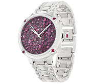 Ecclissi Facets Pave Ruby Stainless Steel Watch 7.00 cttw - J322366