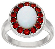 Australian Opal & Fire Opal Sterling Silver Ring 1.10 ct tw - J323366