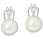 Honora Cultured Pearl 9.0mm & Crystal Omega Back Bronze Earrings - J323866