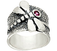 Sterling Silver Rhodolite Textured Dragonfly Ring by Or Paz - J324066