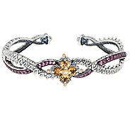 Barbara Bixby Sterling & 18K Citrine & Garnet Flower Cuff Bracelet - J324366