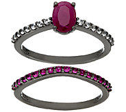 Graziela Gems Precious Gemstone & Zircon Sterling Ring Set - J324566
