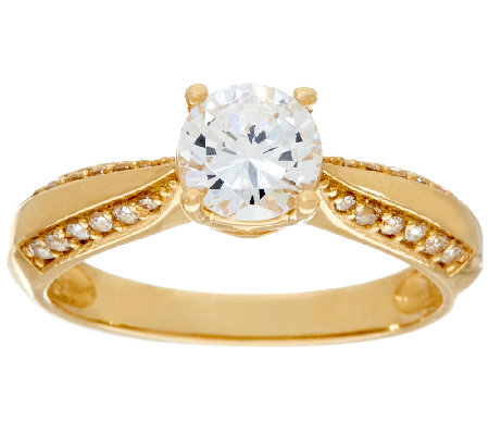 diamonique 1 00ct solitaire ring 14k gold qvc