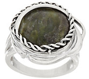 As Is Connemara Marble Twisted Sterling Silver Ring - J325766