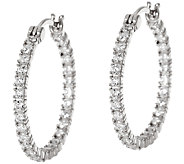 Diamonique 1 Inside Out Hoop Earring, Sterling or 14K Clad - J326066