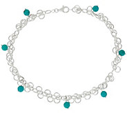 As Is Turquoise Bead Dangle Sterling Silver Ankle Bracelet - J329066