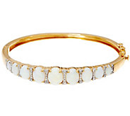 Australian Opal & Diamond Large Hinged Bangle, 14K 1/3 cttw - J330166