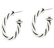 Sterling Silver Rope Design 1 Hoop Earrings by American West - J330566