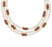 As Is Honora Cultured Pearl 8.0mm Multi-strand18 Bronze Necklace - J333366