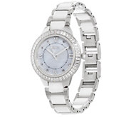 Diamonique Baguette Cut Ceramic Link Watch - J335466