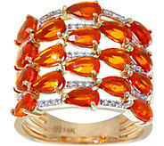 Pear Cut Mexican Fire Opal & Diamond Ring, 14K Gold 2.00 cttw - J335666
