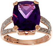 Elongated Cushion African Amethyst & Diamond Ring 14K, 4.00 ct - J346166