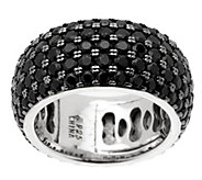 As Is 3.90 ct tw Black Spinel 5-Row Sterling Eternity Band - J346266