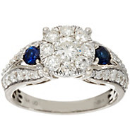 Cluster Diamond & Blue Sapphire Ring, 14K Gold 1.20 cttw, by Affinity - J346466