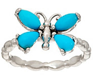 Sleeping Beauty Turquoise or Ethiopian Opal Butterfly Sterling Ring - J347766