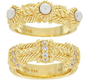 Judith Ripka 14K Clad Set of 2 Estate Style Rings - J348066