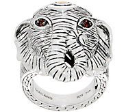 JAI Sterling Silver & 14K Gold Gemstone Figural Elephant Ring - J351066