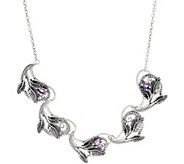 Or Paz Sterling Silver Gemstone Leaf Link Necklace - J352466