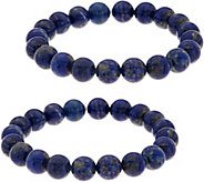 Set of 2 10.0mm Bead Gemstone Stretch Bracelets - J354166