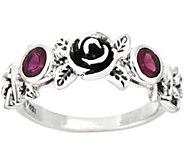Or Paz Sterling Silver Rhodolite Rose Band Ring - J354566