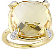 14K 15.10 cttw Citrine & White Sapphire Cocktail Ring - J377666