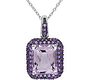 Sterling 7.65 cttw Rose de France and AmethystPendant w/Chain - J378566