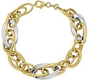 Italian Gold Two-Tone Interlock Oval Link Bracelet 14K, 10.5g - J379066