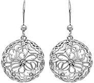 Italian Silver Floral Crystal Dangle Earrings,Sterling - J379666