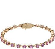 Judith Ripka 14K 4.00ct Pink Sapphire Diamond 6-3/4 Bracelet - J381166