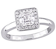 Affinity 14K Gold 9/10 cttw Asscher-Cut DiamondHalo Ring - J381366