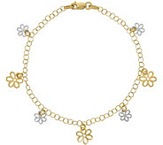 Italian Gold 7-1/2 Two-Tone Flower Dangle Bracelet 14K, 2.3g - J381566