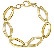 Italian Gold Polished & Textured Oval Link Bracelet 14K, 8.5g - J382066