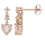 14K Gold 1.45 cttw Morganite Heart Drop Earrings - J382466