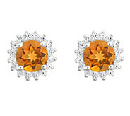 14K White Gold Round Gemstone Halo Stud Earrings - J382566