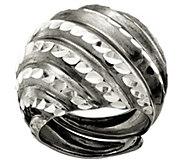 Italian Silver Diamond Cut Domed  Adjustable Ring - J382766