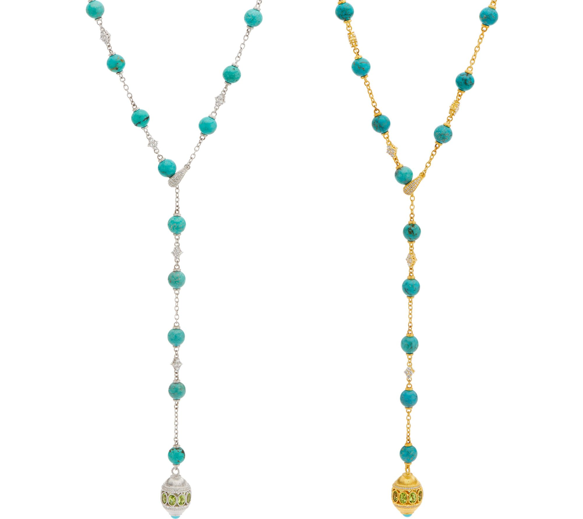 judith ripka sterling silver or 14k clad turquoise bead necklace qvc