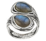 Or Paz Sterling Labradorite Bypass Ring - J270167