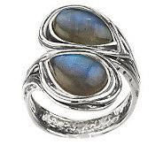 Or Paz Sterling Labradorite Bypass Ring - J270167
