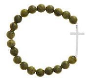 Sterling Silver Connemara Marble Stretch Cross Bracelet - J278267