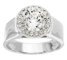 Epiphany Diamonique 100-Facet Wide Band Halo Ring