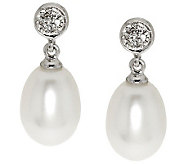 Honora Cultured Pearl 8.0mm Diamond Accent Sterling Earrings - J281967